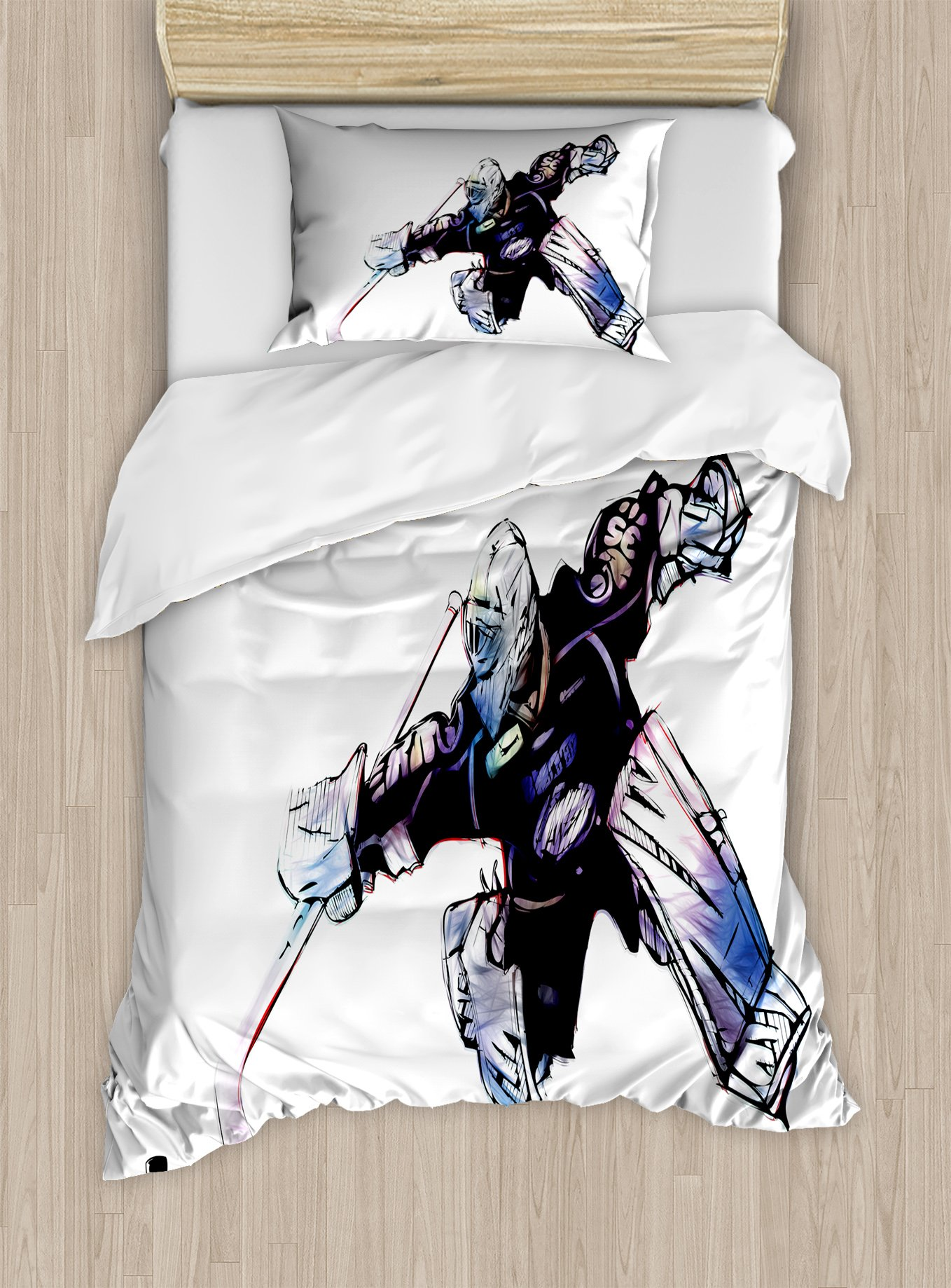 Ambesonne Hockey Twin Size Duvet Cover Set, Goalkeeper in Hand Drawn Style with Protective Gear in a Competitive Game, Decorative 2 Piece Bedding Set with 1 Pillow Sham, Purple Black White