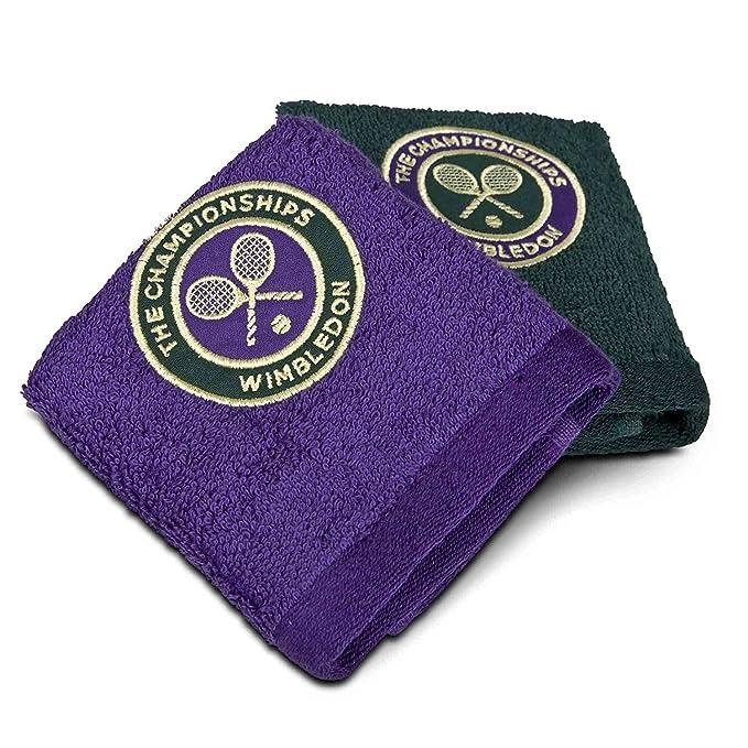 Wimbledon - Juego de toallas de cara de 2 - morado y verde - tamaño 12