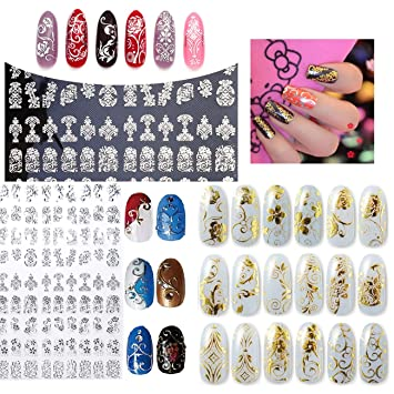 Amazon New Arrival 2 Sheets Silver Gold 3d Nail Art Stickers