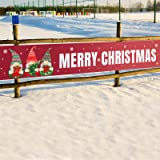 Large Merry Christmas Banner 8.2 x 1.5 FT Red Christmas Banner Decorations Xmas Party Supplies Outdoor and Indoor Decor