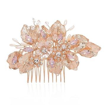 Amazon Com Sweetv Handmade Bridal Hair Comb Rose Gold Wedding