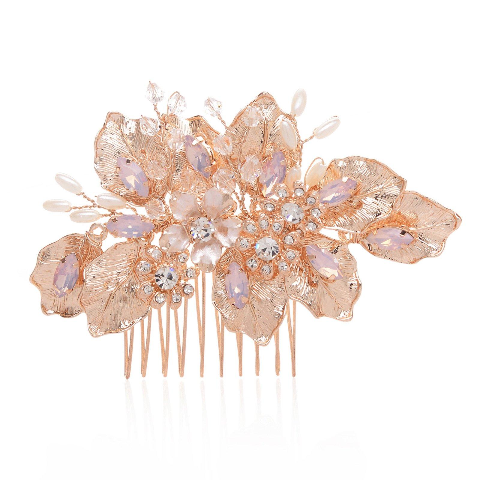 SWEETV Handmade Bridal Hair Comb Rose Gold Wedding Headpieces Crystal Pearl Comb for Bridesmaids
