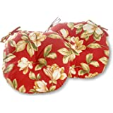 Greendale Home Fashions Round Indoor/Outdoor Bistro Chair Cushion, Roma Floral, 15-Inch, Set of 2