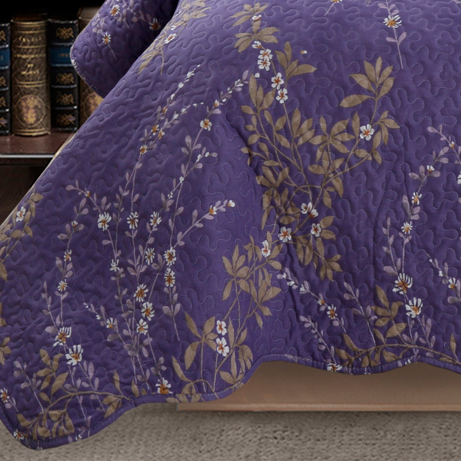 Kasentex Country-Chic Printed Pre-Washed Set. Microfiber Fabric Floral Design Quilt + 2 Shams, KING 104X90+20X36 X2, Purple by Kasentex (Image #2)