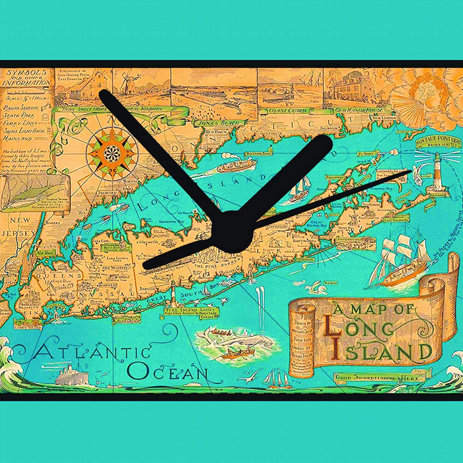 Amazon Com Long Island Clock New York Clock Vintage Map 2 Sizes