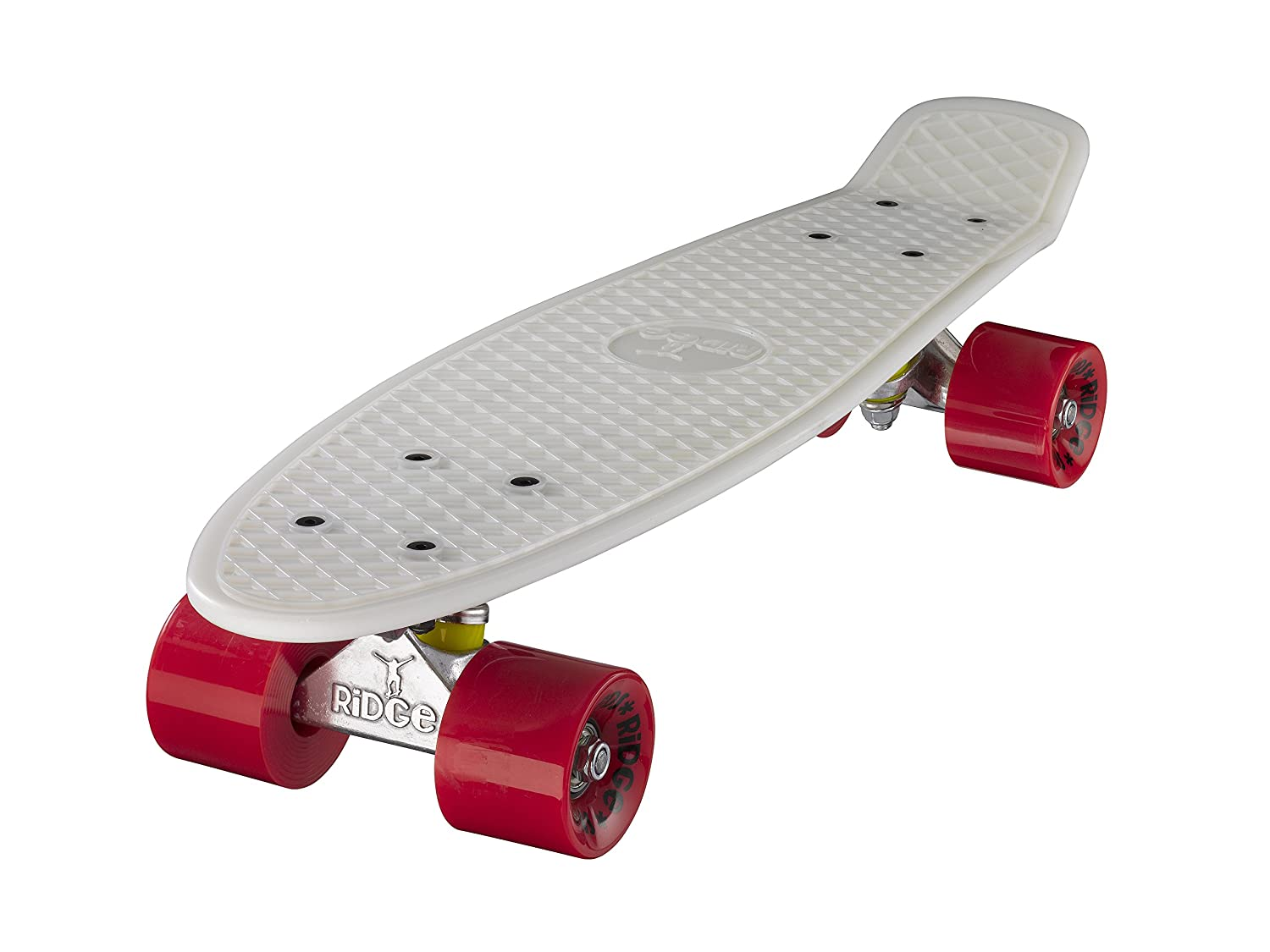 Ridge Retro Cruiser Skateboard color blanco brillante  rojo cm