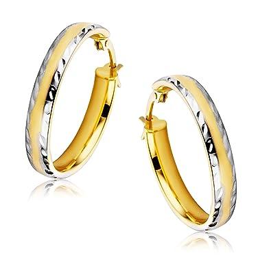 b008a00e0eeb Orovi Pendientes Señora aros en Oro Blanco y Oro Amarillo Oro 9 Kt   375   Amazon.es  Joyería