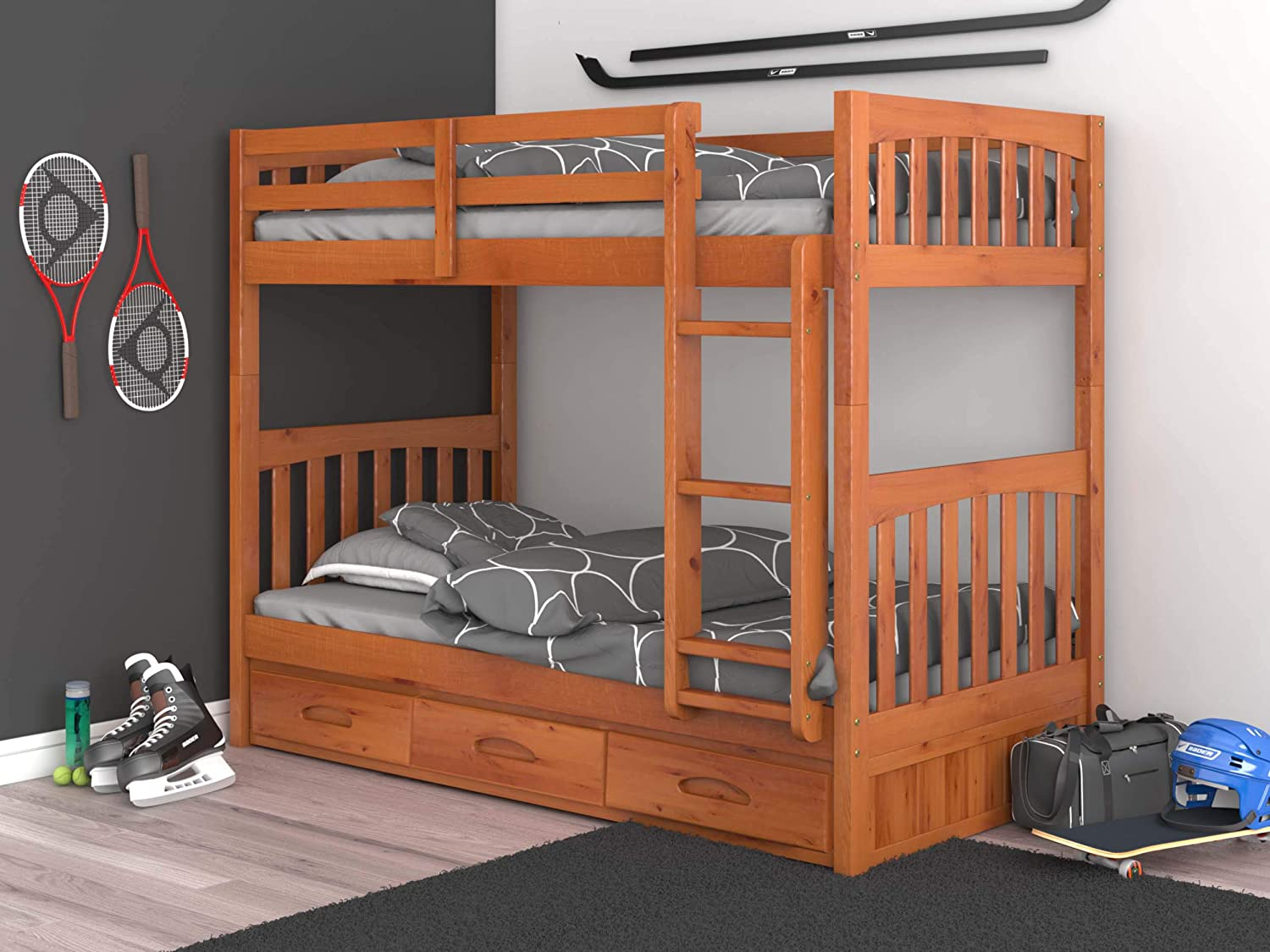 Twin Over Twin Bunk with 3 Drawers Honey