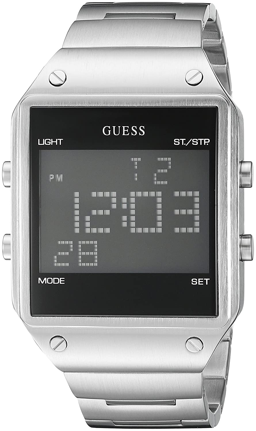 Amazon.com: GUESS Mens U0596G1 Digital Display Silver-Tone Watch with Alarm, Dual Time Zone & Chronograph / Stop Watch Functions: Watches