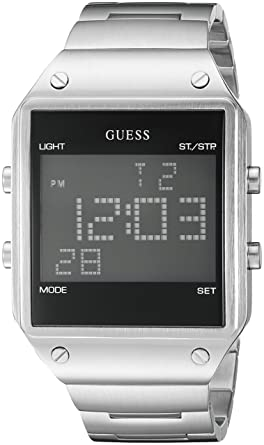 GUESS Mens U0596G1 Digital Display Silver-Tone Watch with Alarm, Dual Time Zone &