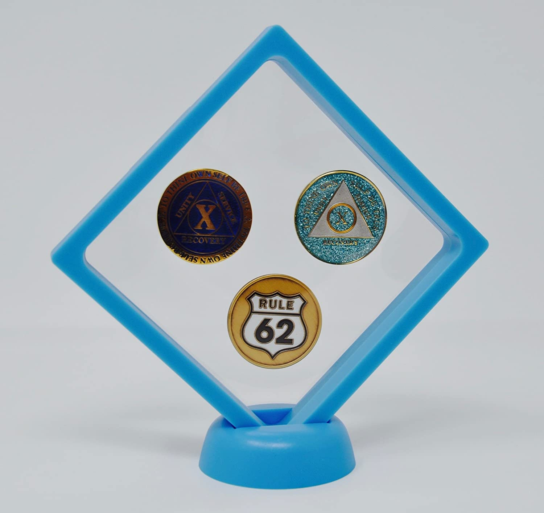 White Diamond Square AA Medallion Challenge Coin Chip Display Stand Holder Magic Suspension Box ICX USA