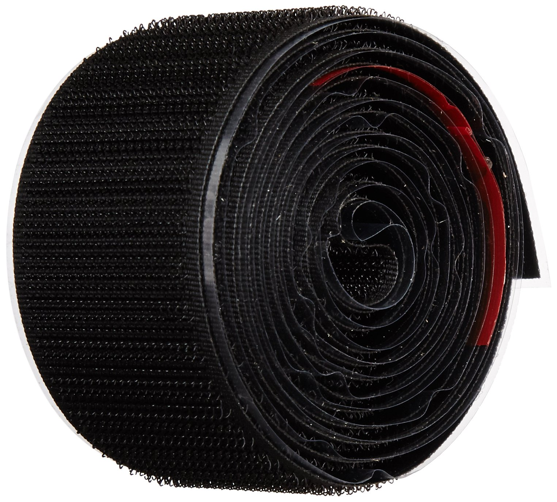 VELCRO 1005-AP-PSA/H HOOK TYPE, Black Nylon Woven Fastening Tape, Pressure Sensitive Adhesive Back, 1-1/2'' Wide, 5' Length