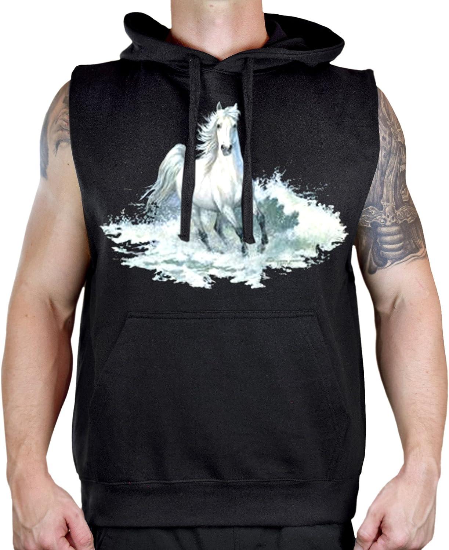 Mens American Spirit White Beach Horse Black Sleeveless Vest Hoodie