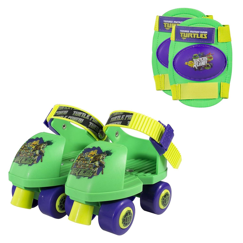 PlayWheels Teenage Mutant Ninja Turtles Kids Roller Skates with Knee Pads - Junior Size 6-12