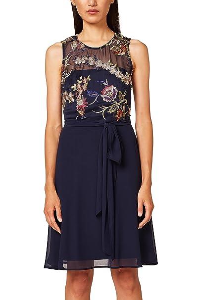 ESPRIT Collection 038eo1e019, Vestido de Fiesta para Mujer, Azul (Navy 400),