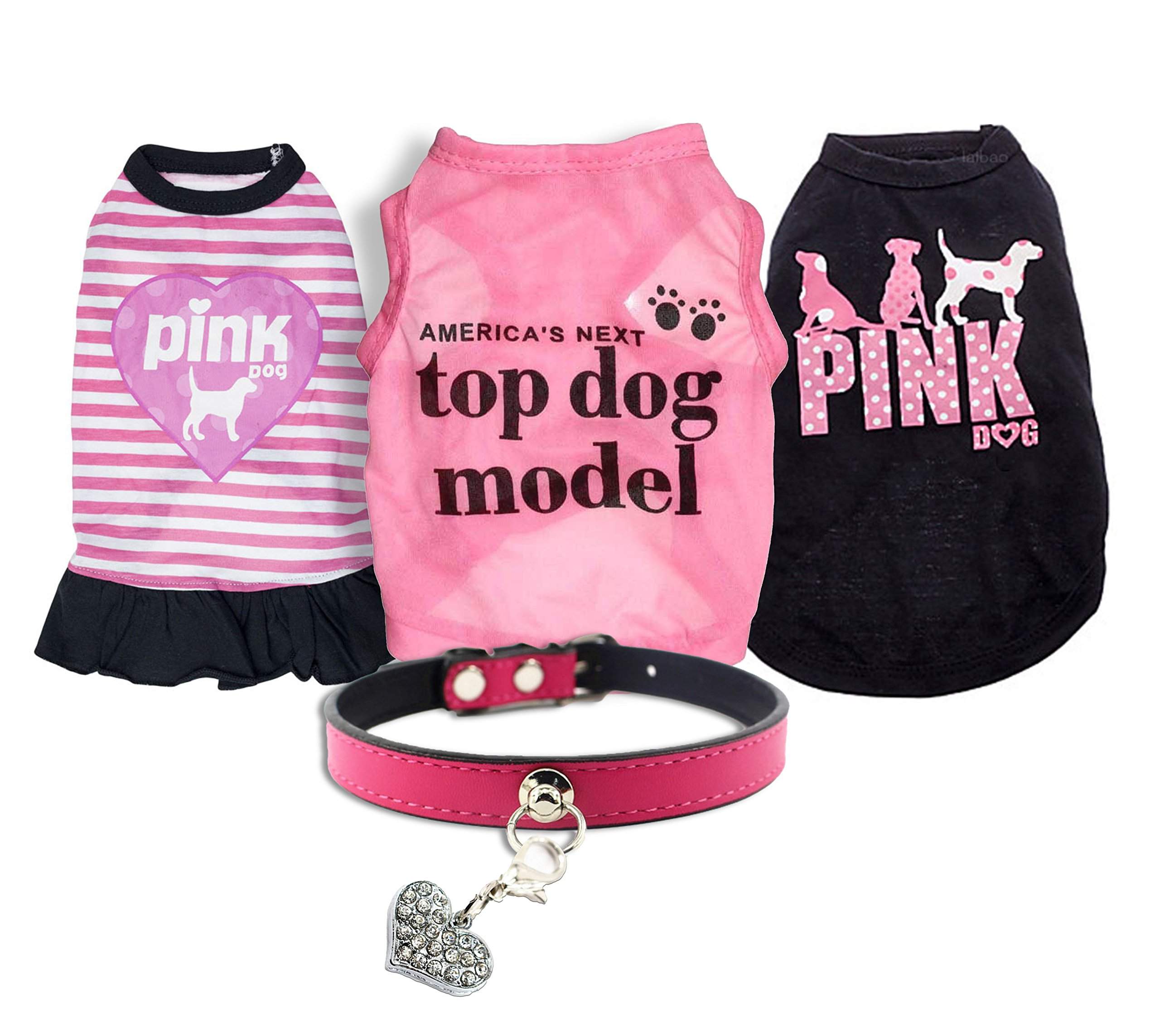 Ollypet Set of 5 Bulk Dog Clothes Dress Shirt Collar For Small Dogs Girl Accessories Puppy Cat Pink Pet Cute Summer Apparel Chihuahua Yorkie L