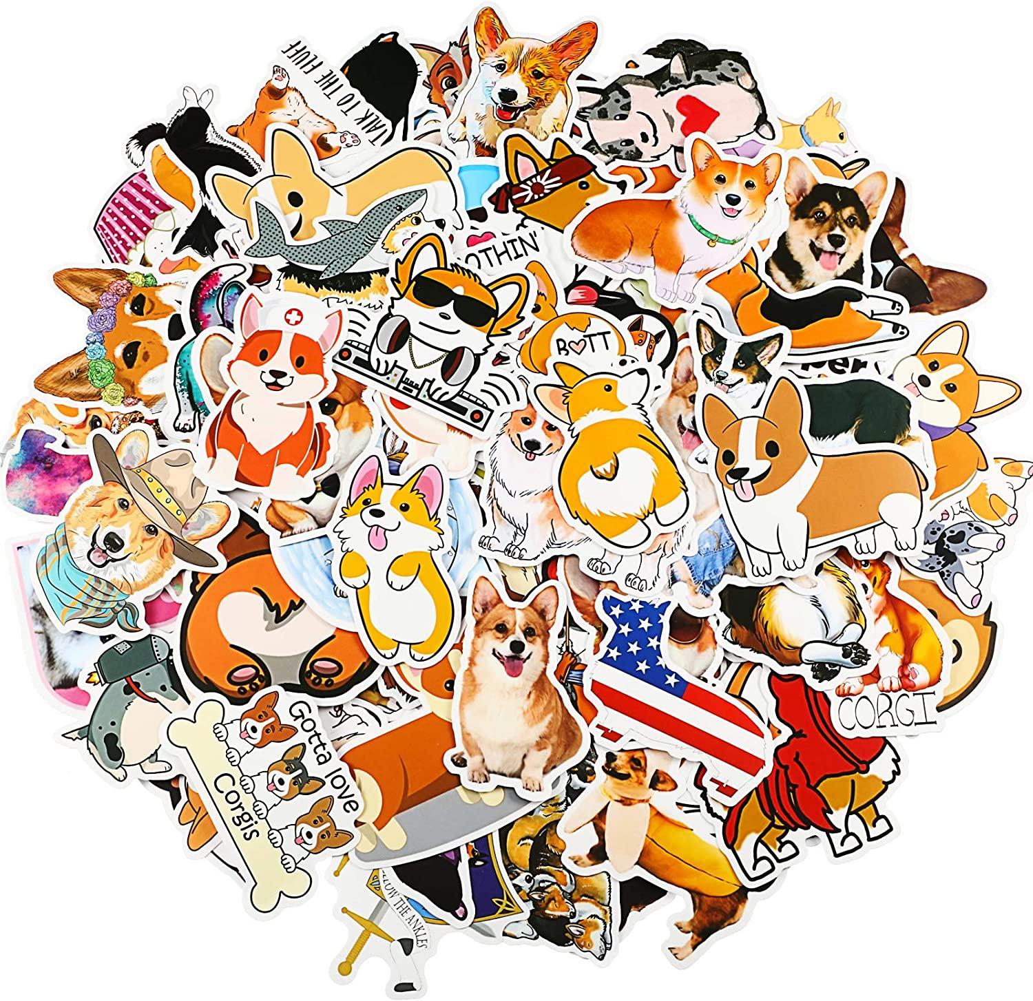150 Pieces Welsh Corgi Pembroke Stickers Lovely Dog Puppy Stickers Cute Aesthetic Trendy Animal Stickers Waterproof Vinyl Decal Stickers for Water Bottles, Car, Bicycle Luggage, Laptop