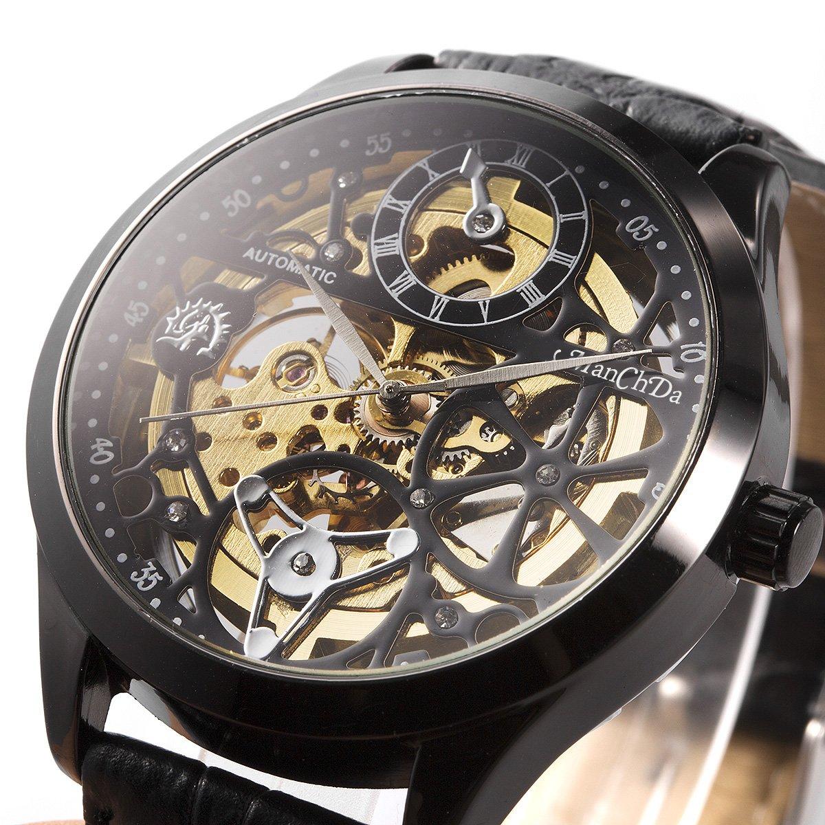 ManChDa Big Case 47MM XL Automatic Mechanical Crystal Black Leather Wrist Watch + Gift Box by ManChDa (Image #4)