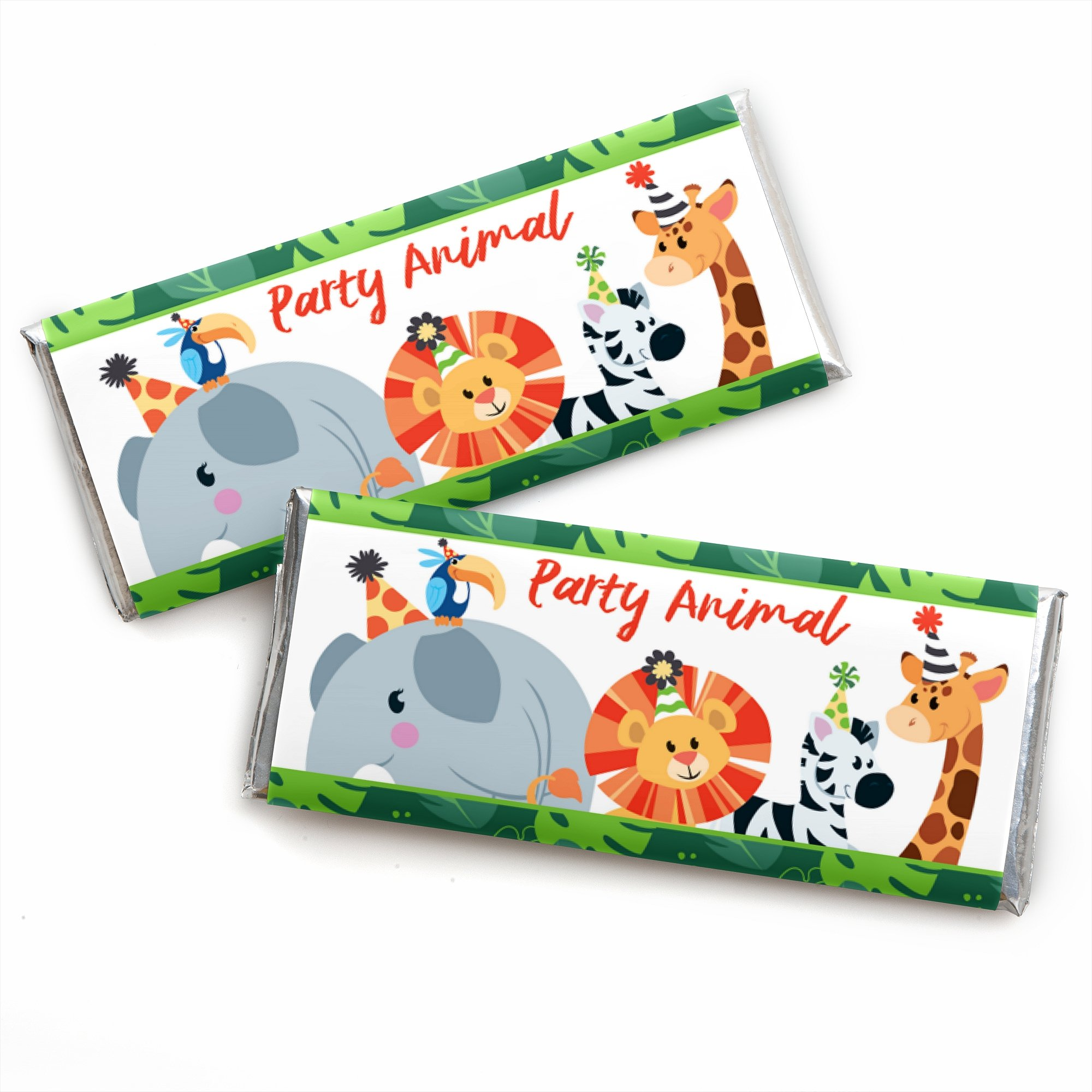 Jungle Party Animals - Candy Bar Wrapper Safari Zoo Animal Birthday Party Or Baby Shower Favors - Set of 24