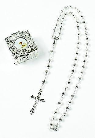 Rosario de primera comunión chapado en plata con cuentas para recuerdo