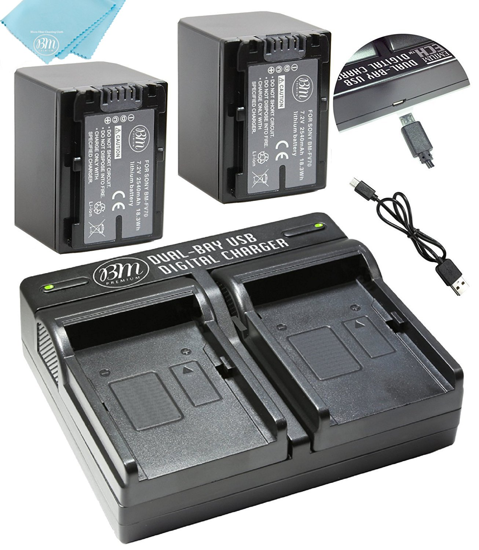 BM Premium 2 NP-FV70 Batteries & Dual Charger for Sony PXW-Z90V, HXR-NX80, HDR-CX455/B HDR-CX675B, CX330, CX900, PJ340, PJ540, PJ670B, PJ810, FDR-AX33, FDR-AX53, FDR-AX100, NEX-VG10, VG20, VG30 VG900