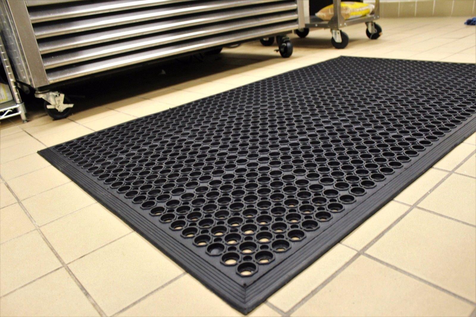 Black Anti-Fatigue Floor Mat Indoor Commercial Industrial Heavy Duty Rubber Floor Mats 36'' 60''
