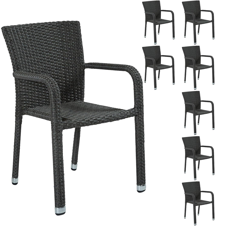 8 Stapelstühle Gartenstühle Polyrattan Stapelstuhl Stuhl Stühle grau Gartenset