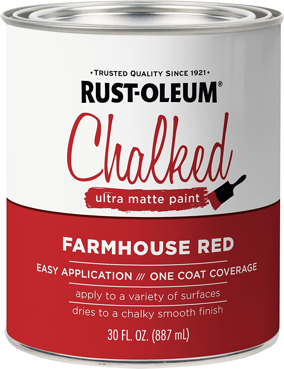 Rust-Oleum 329211 Ultra Matte Interior Chalked Paint 30 oz, Farmhouse Red