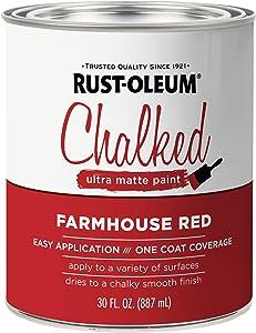 Rust-Oleum 329211 Ultra Matte Interior Chalked Paint 30 oz, Farmhouse Red
