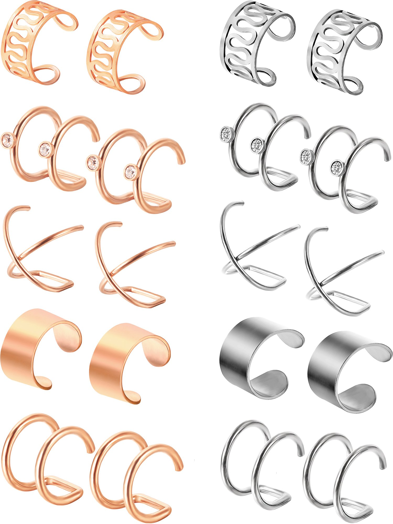 Jovitec 10 Pairs Stainless Steel Ear Cuff Helix Cartilage Clip on Earrings Non Piercing Cartilage Earrings for Women Girls Supplies, 5 Styles (Steel and Rose Gold) by Jovitec