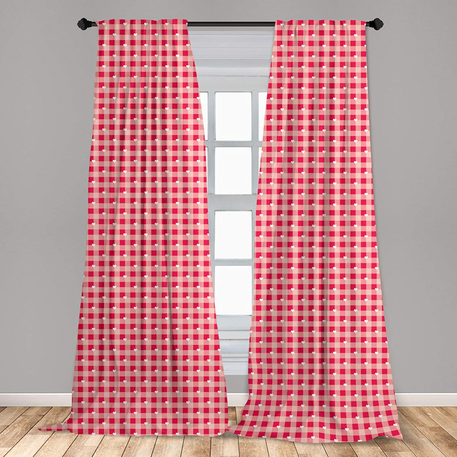 Lunarable Abstract 2 Panel Curtain Set, Heart Forms Over Striped Backdrop Girls Love Valentines Image, Lightweight Window Treatment Living Room Bedroom Decor, 56