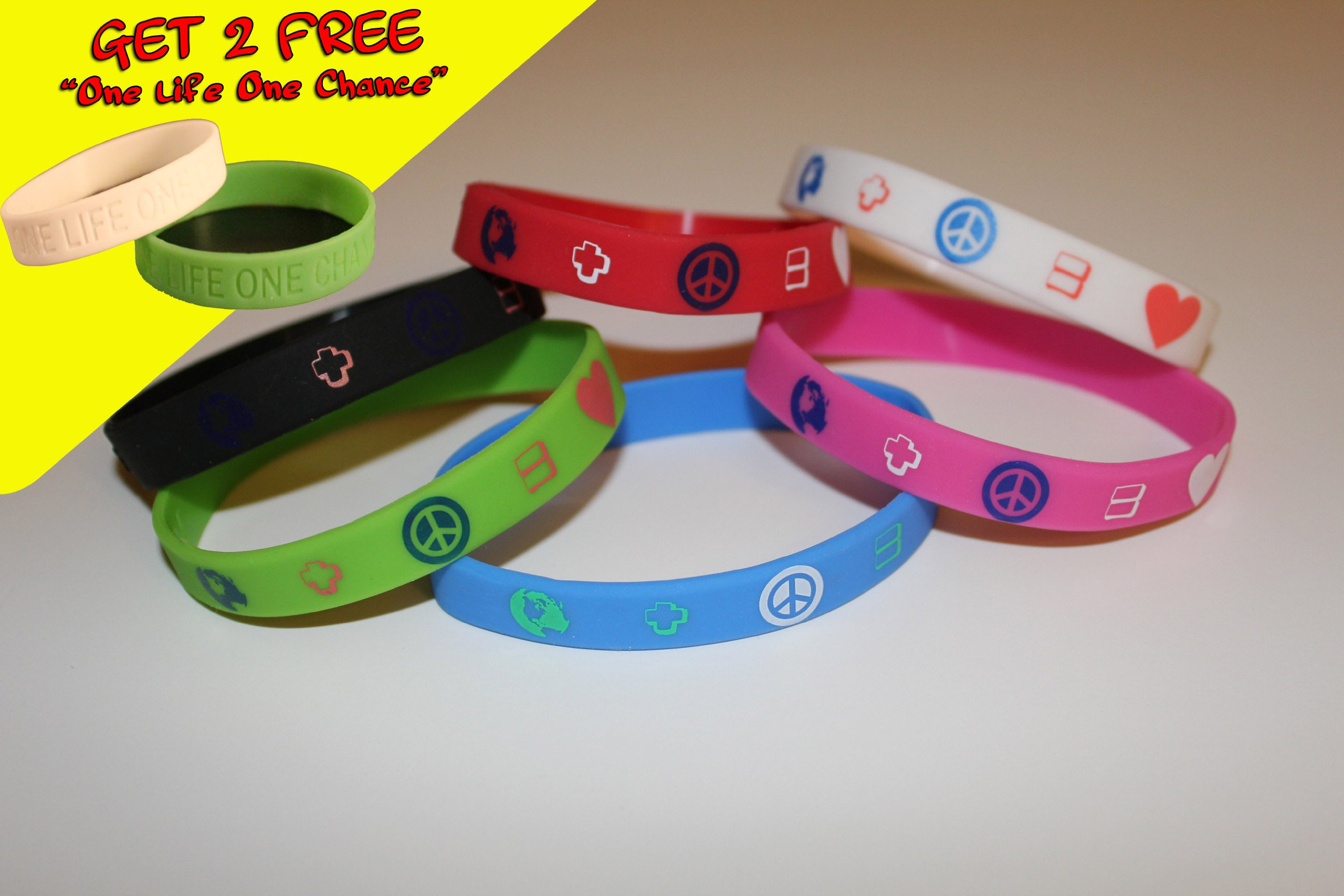 2 FREE One Life One Chance w/ purchase of PARTY FAVORS 7PK ONE OF EACH COLOR Silicone Wristband ''earth+peace=love'' for kids, teens, unisex