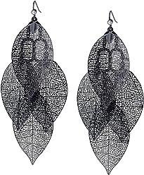 SIX Ohrschmuck, Metallic Blätter Ohrringe, Ohrhänger, Chandeliers, mit vier dünnen Cut-Out Blättern (776-528)