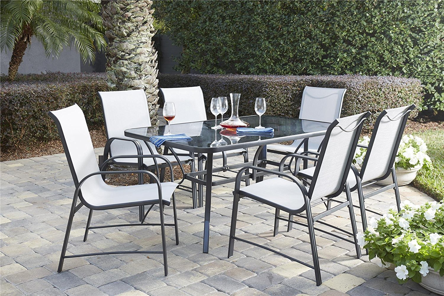 COSCO 88647GLGE Outdoor Living 7 Piece Paloma Steel Patio Dining Set, Light/Dark Gray by Cosco Outdoor Living (Image #15)