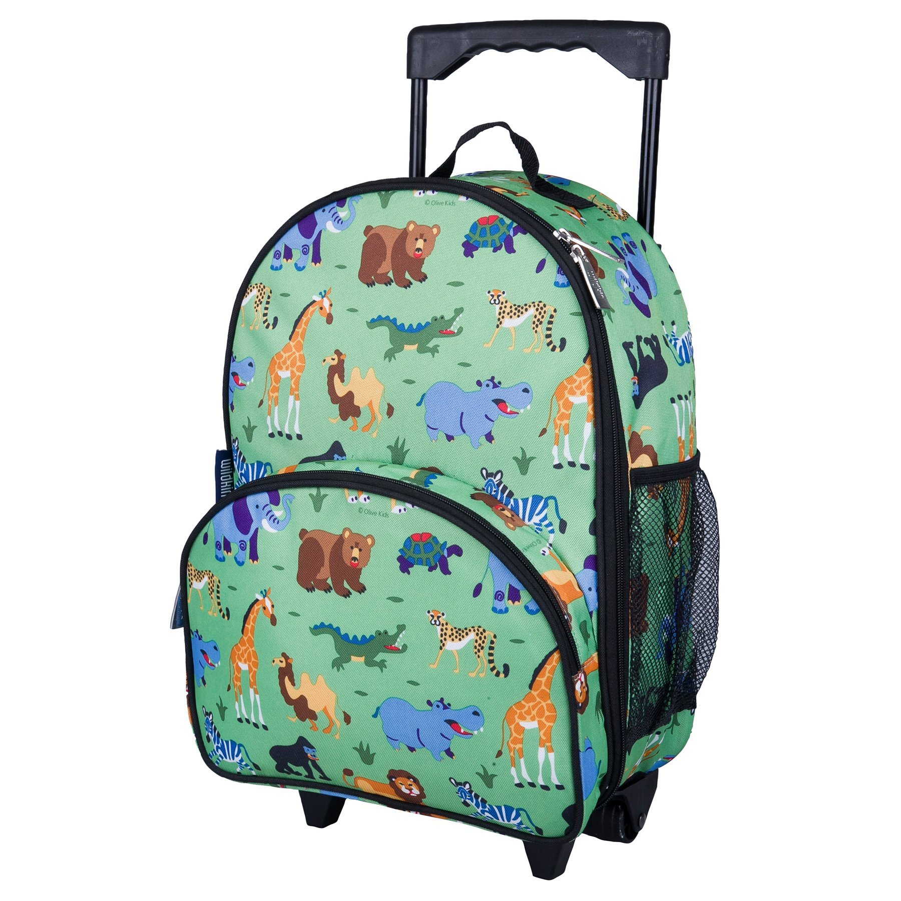 Wildkin Rolling Luggage, Features Telescopic Top Grab Handle with Convenient Extras for Quick and Easy Organization, Olive Kids Design - Wild Animals