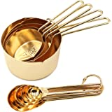 Homestia Stainless Steel Measuring Cups and Spoons Set of 8 Pcs Baking Cooking Utensils with Measurement for Dry and…