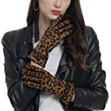 Womens Leather Gloves Touchscreen Texting,Fleece Lined Warm Winter Gloves (Leopard(pu leather gloves), L/XL)