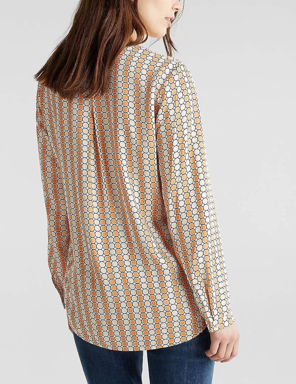 ESPRIT Collection Maglietta a Maniche Lunghe Senza Collo Donna 113