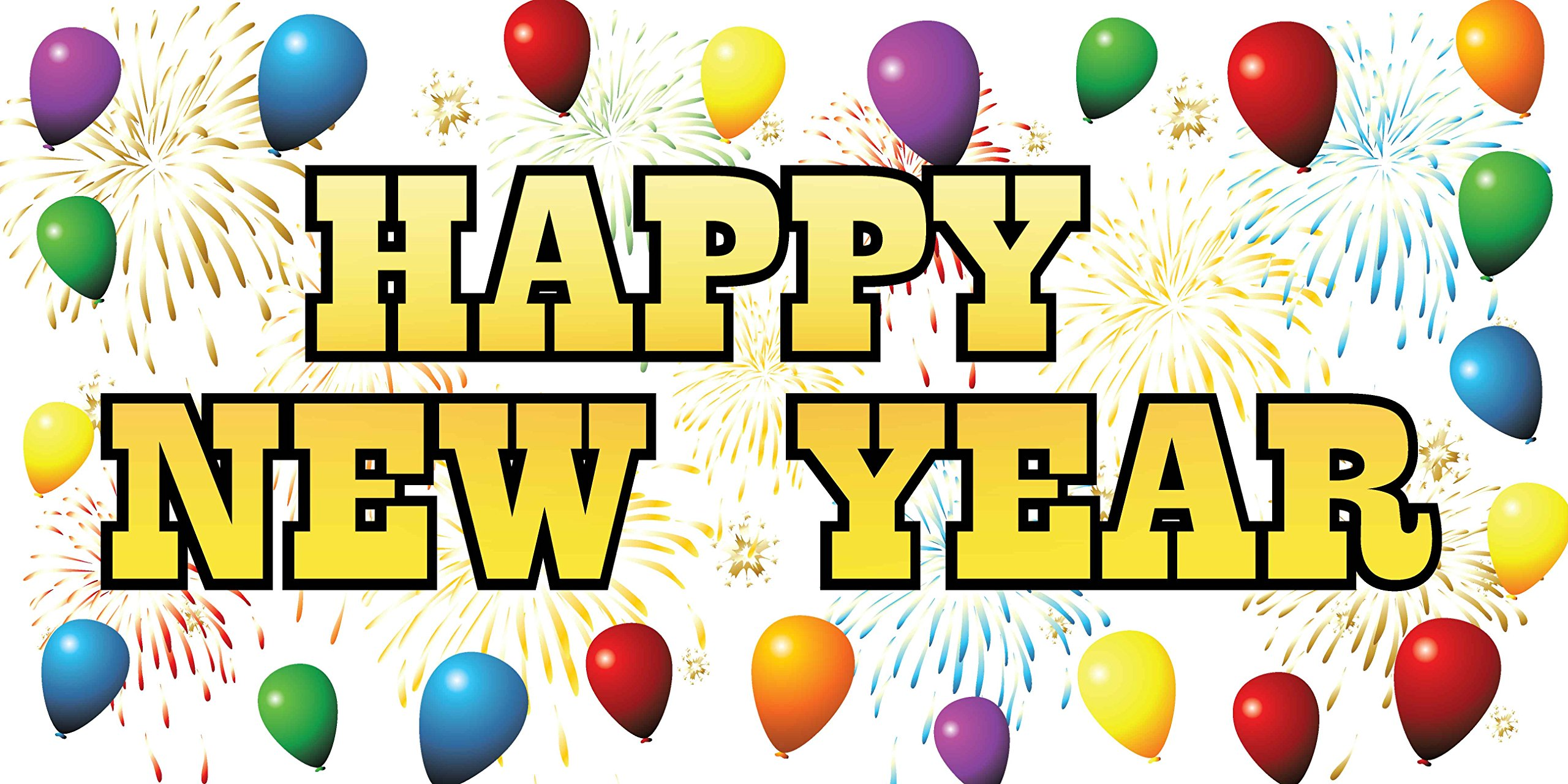 Pre-Printed Happy New Year Banner - Balloons (10' x 5')