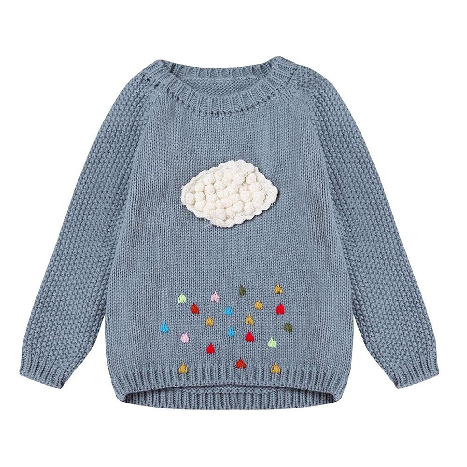 Kingko® Toddler Girls Kids Long Sleeves Sweater Tops Casual Warm Pullover Blouse Fluffy Sweater 3-7 Years KINH-321