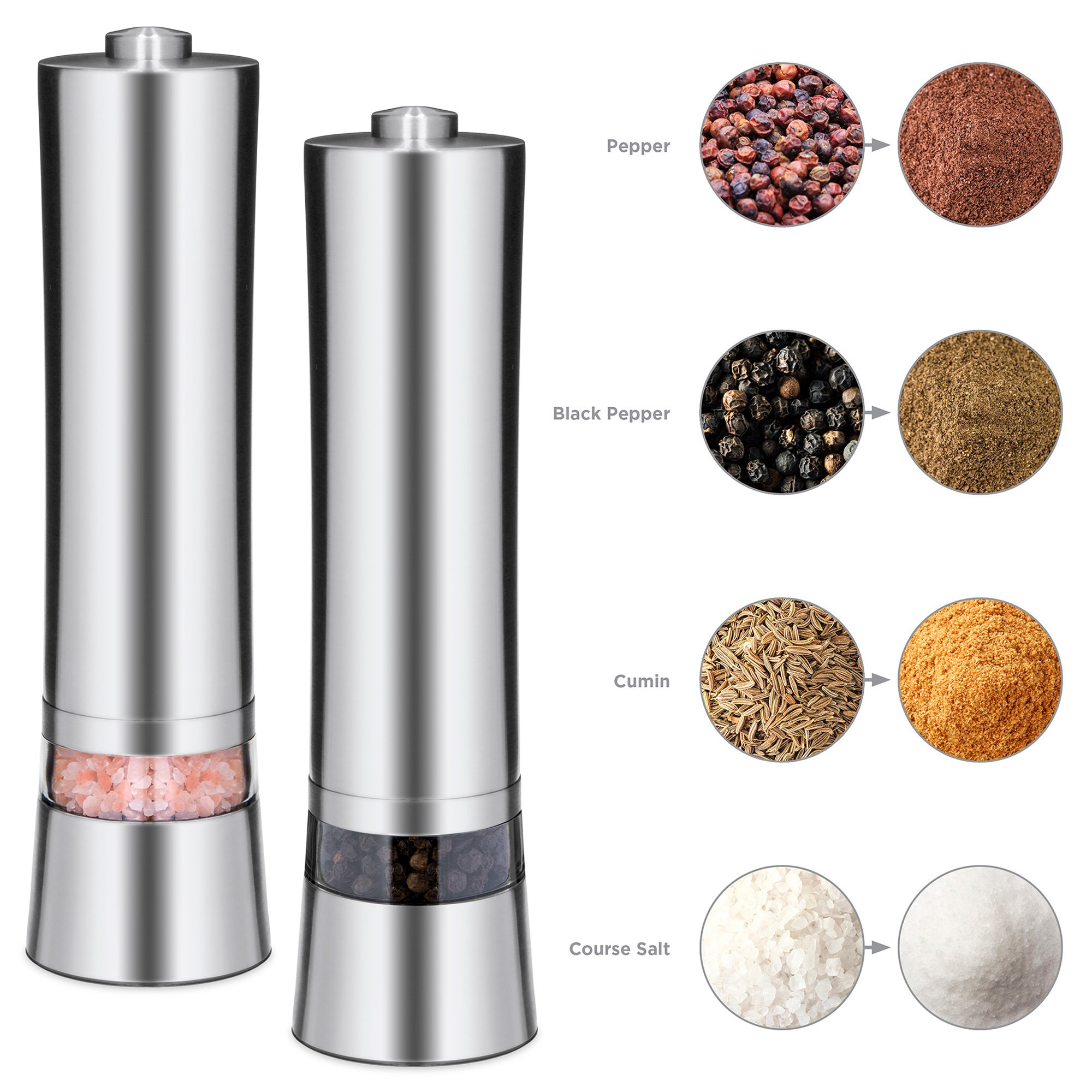 Best Choice Products Set of 2 Stainless Steel Adjustable Pepper Mill Electronic Salt, Pepper, Spice Grinder Set w/Light