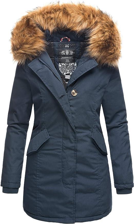 Marikoo Damen Flauschige Winter Jacke Stepp Mantel Parka mit Kunstfellkapuze Winterjacke Karmaa