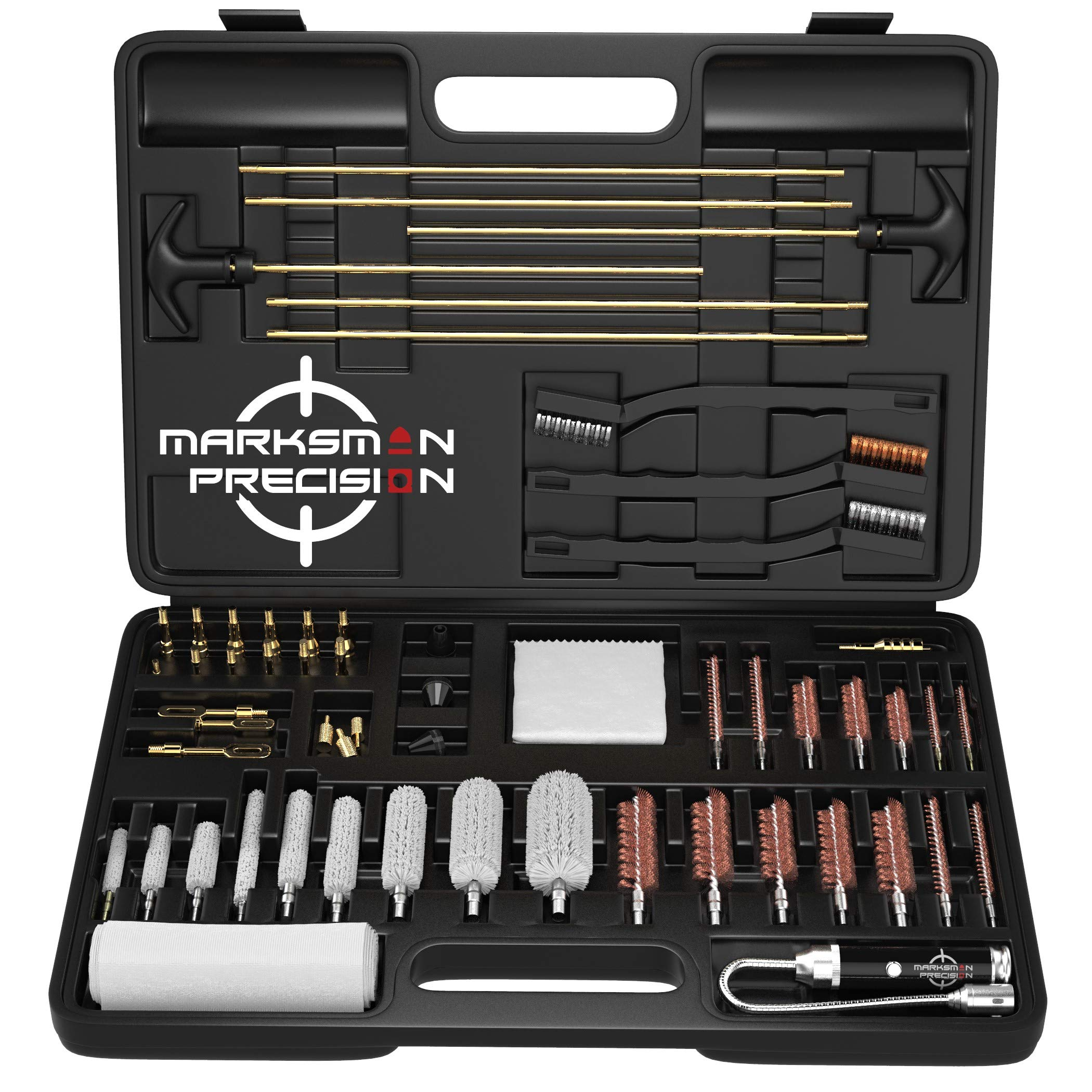 Marksman Precision Universal Gun Cleaning Kit | Best Brass Jags - Slotted Tips - Rods - Brushes | LED Bore Light | Optical Cloth | Hunting Shooting Rifle Pistol Shotgun Tactical -Plastic Portable Case by Marksman Precision