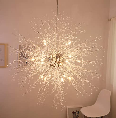 GDNS Firework Chandeliers,Contemporary Crystal Chandelier,Pendant Lighting,Ceiling Lights Fixtures for Living Room Bedroom Restaurant Porch,Dia 47.5 Inches