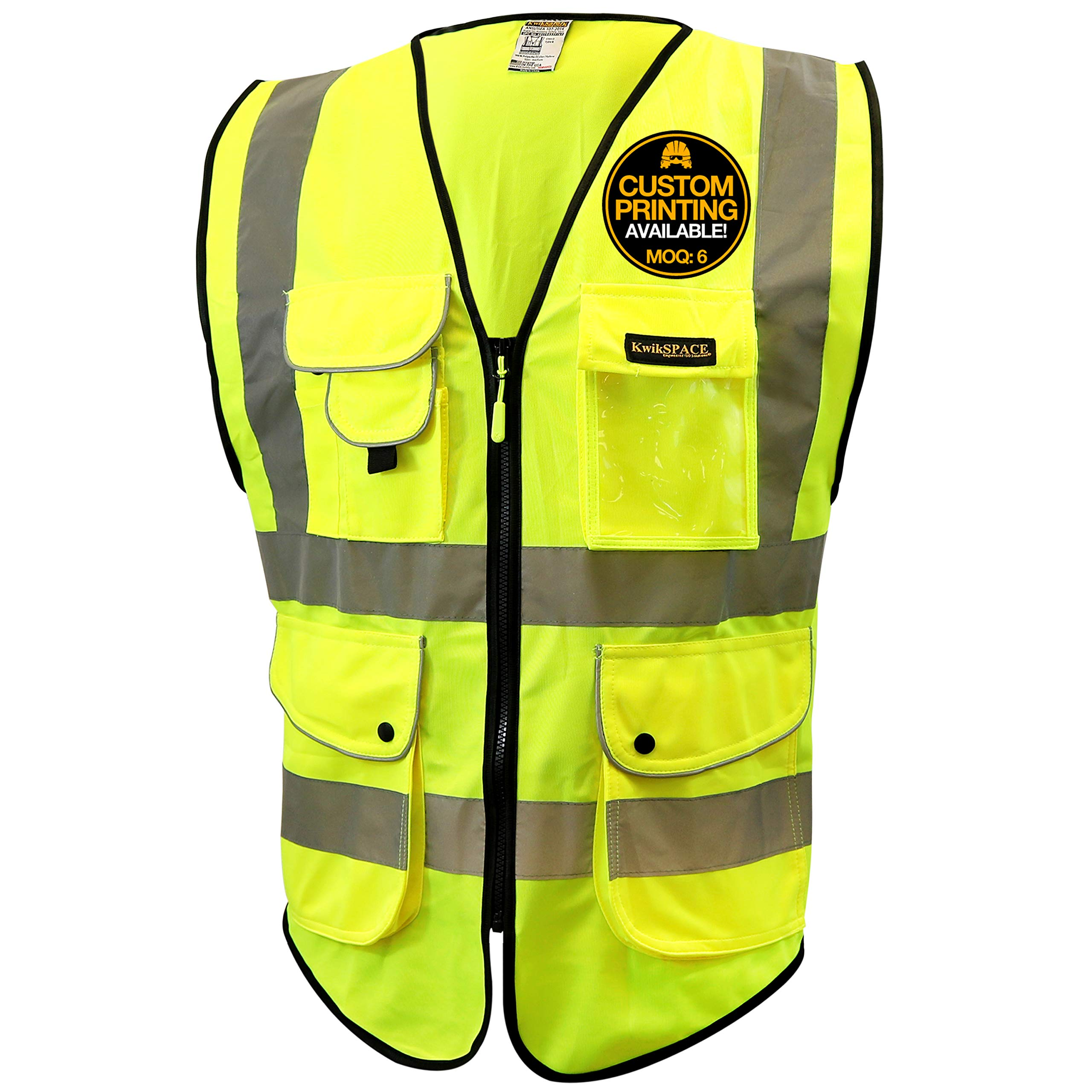 KwikSafety (Charlotte, NC) SUPERIOR (9 Pockets) Class 2 ANSI High Visibility Reflective Safety Vest Heavy Duty Mesh Zipper and Hi Vis Construction Surveying Engineering Work HiViz Men Yellow XX-Large
