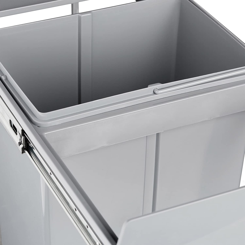 Relaxdays Sistema de separación de residuos, 40 litros, HxWxD: 41,8 x 34,2 x 48 cm, 2 x 20 L, Integrado, extraíble, para armarios, plástico, Gris, ...