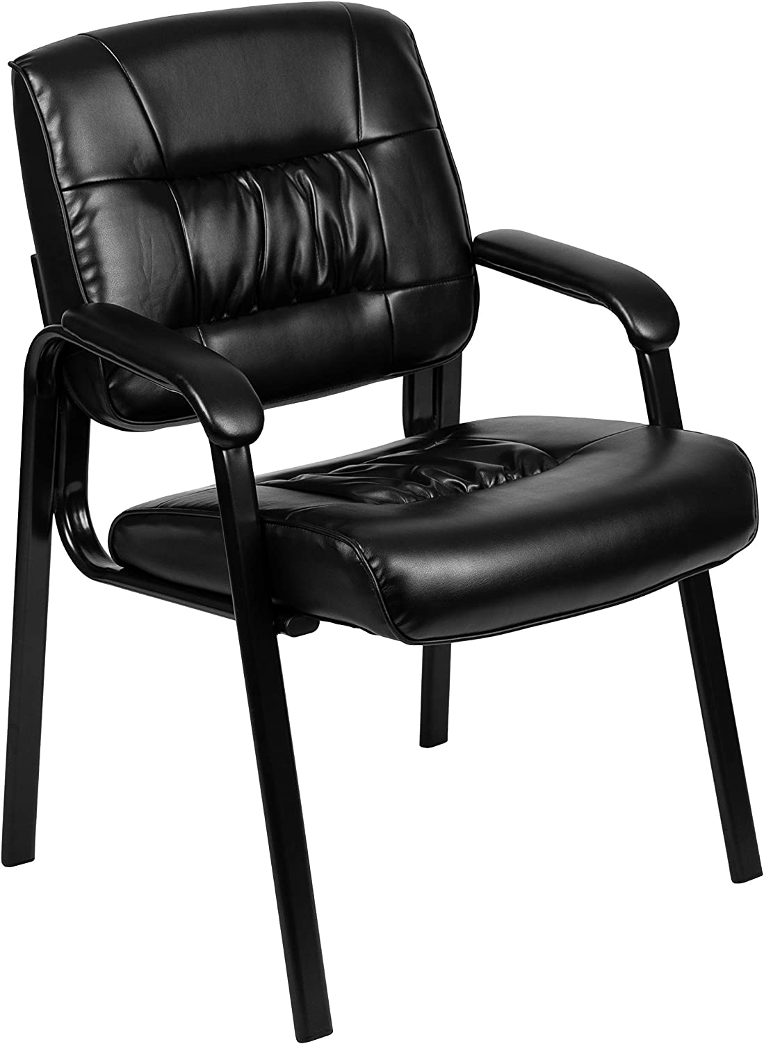 Flash Furniture Black LeatherSoft Antimicrobial / Antibacterial Medical Side Chair with Black Metal Frame