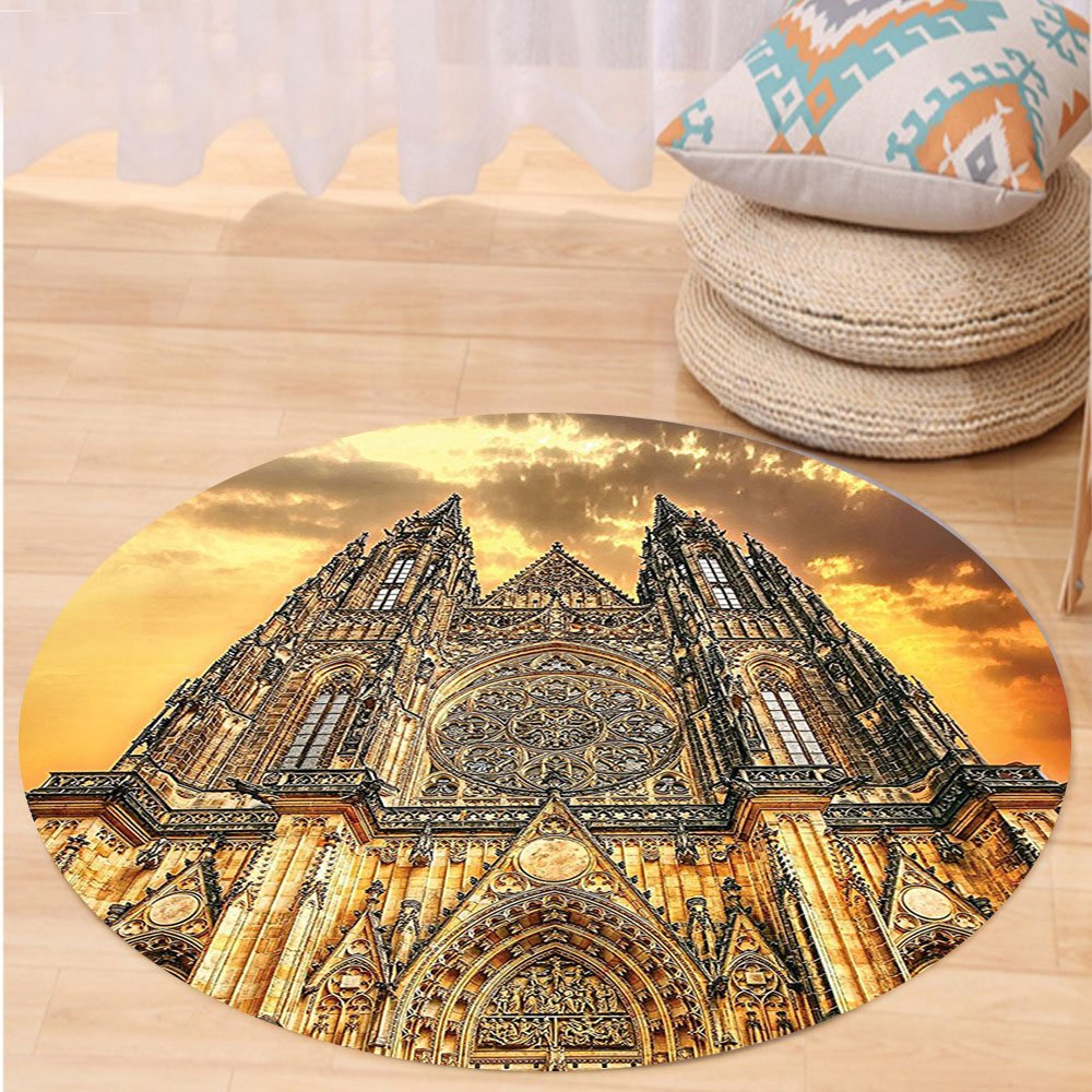 VROSELV Custom carpetGothic Decor Famous Cathedral European Church Catholic Gifts Sunset Tower Medieval Architecture Prague Picture Believe Art Christian Living Room Bedroom Dorm D Round 72 inches