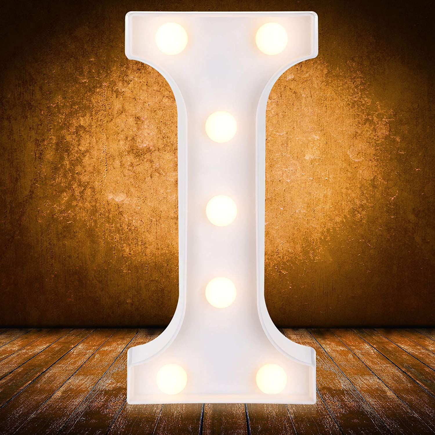 LED Letters Numbers Lights 26 Alphabet 0-9 Arabic Numerals Decorative Marquee Lamps with Wireless Remote Control for Events Wedding Party Birthday Home Bar (Letter I)
