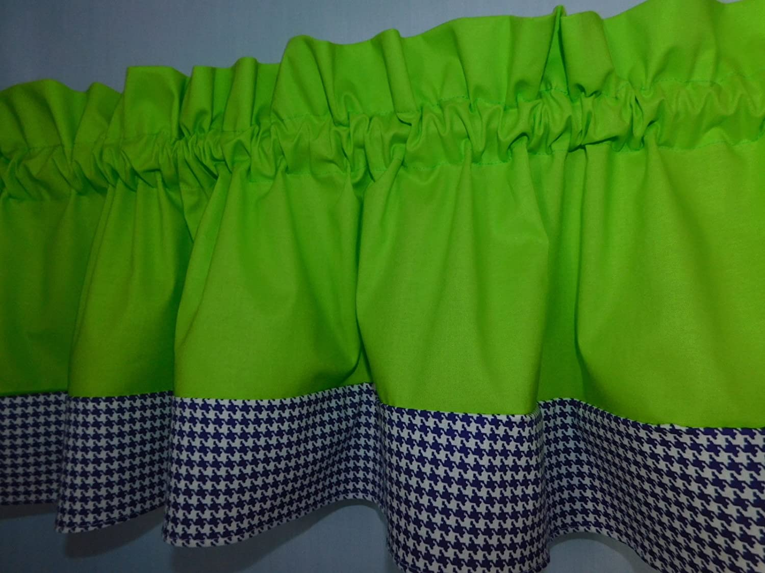 laundry room Solid lime green and purple violet hounds-tooth valance school centers. Kids Window treatment decor Baby